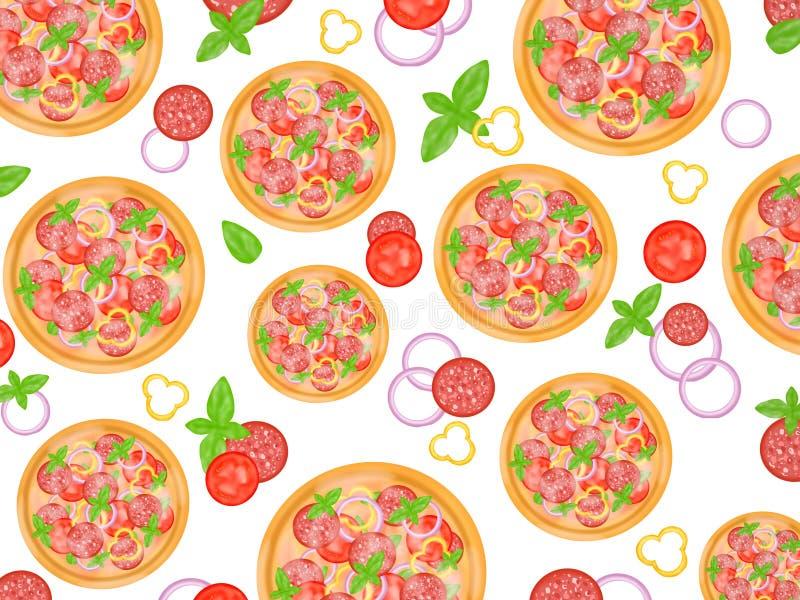 Italiensk matstil, bästa sikt av pizza som överträffar med salami, och blandade grönsaker som isoleras på vit bakgrund royaltyfri illustrationer