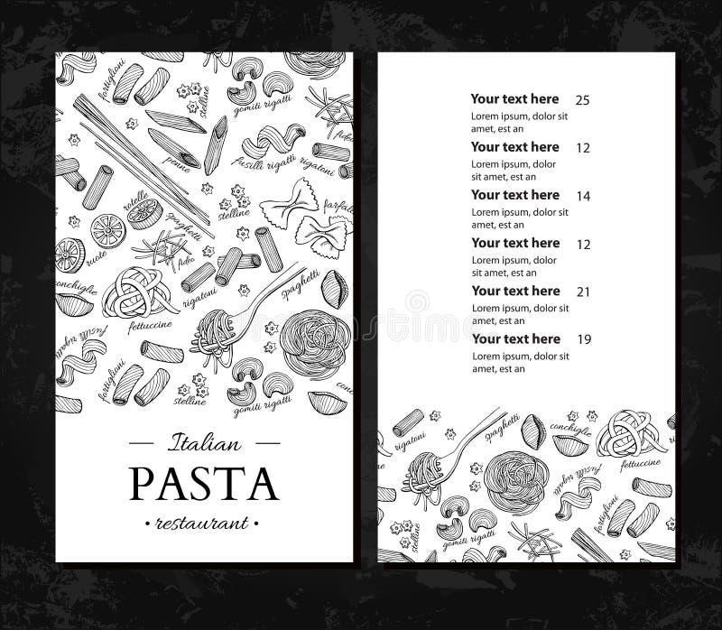 Italiensk meny för pastarestaurangvektor Hand dragit inristat baner Utmärkt för baner, reklamblad, kort, stock illustrationer