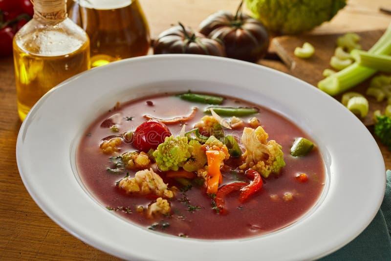 Italiensk minestronesoppa med nya grönsaker arkivfoto