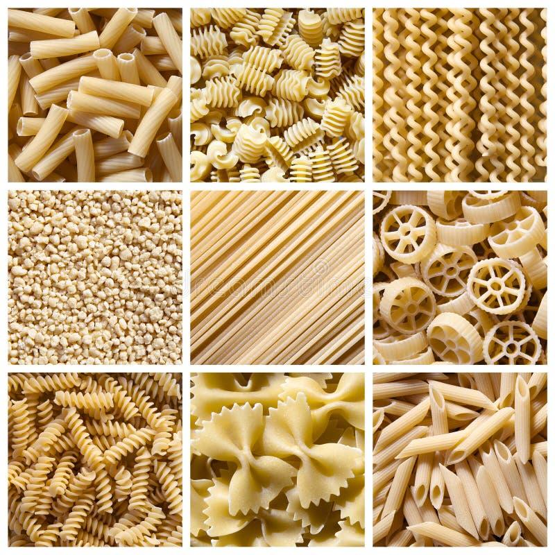 Italiensk pasta - collage arkivfoto