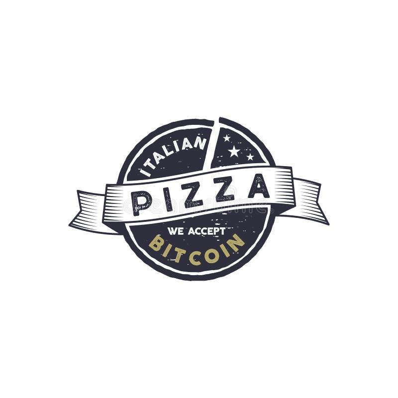 Italiensk pizza för det Bitcoin emblemet Vi accepterar BTC-logodesign Digital tillgångar för verkligt godsbegrepp tecknad handtap royaltyfri illustrationer