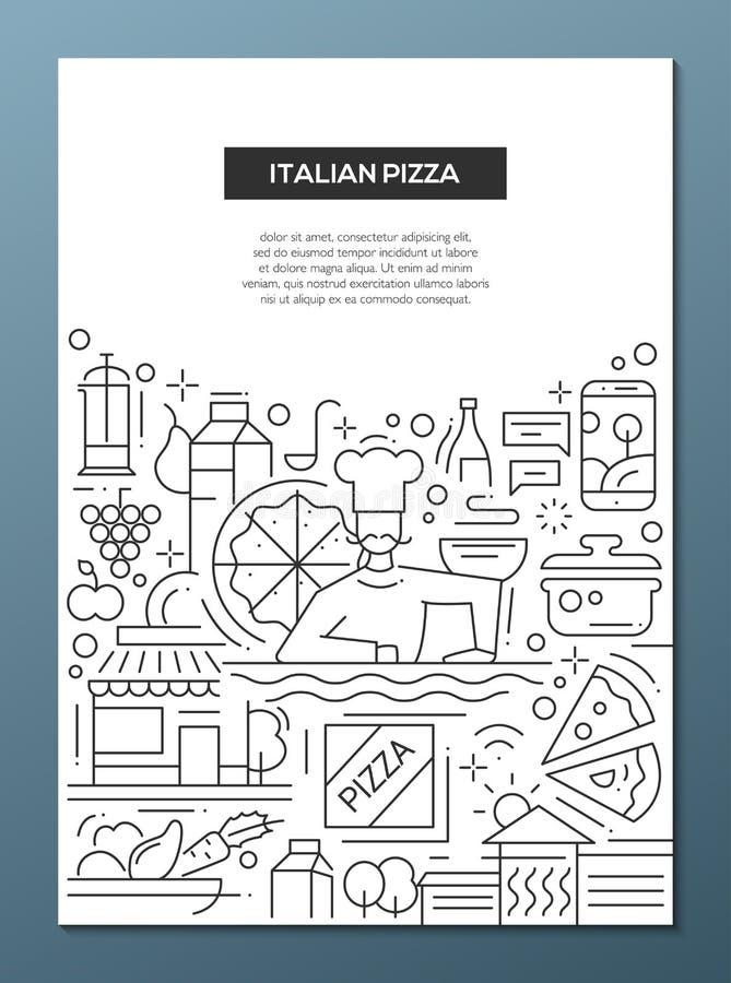 Italiensk pizza - fodra mallen A4 för designbroschyraffischen stock illustrationer