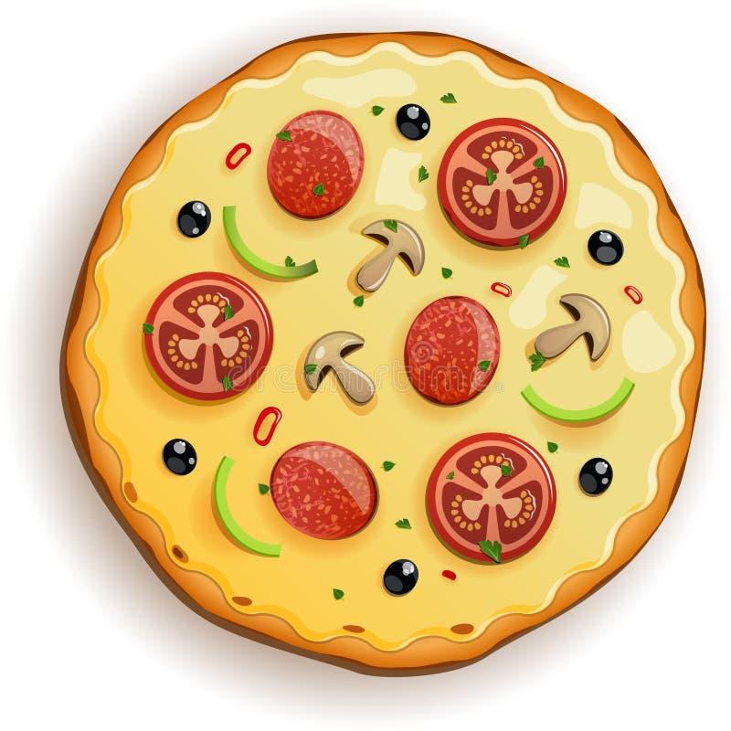 Italiensk pizza med tomaten, korven och champinjoner stock illustrationer