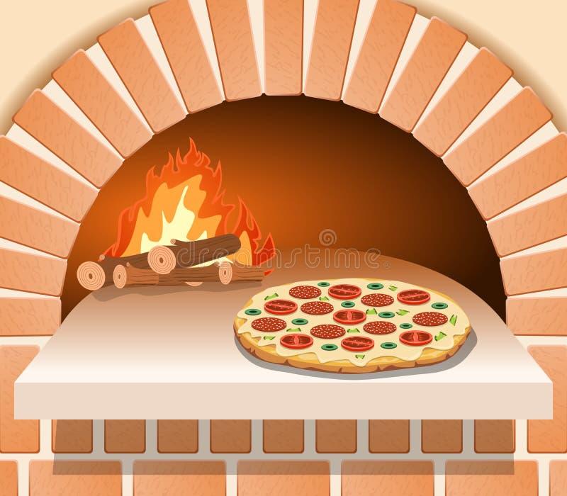Italiensk pizza med tomaten, korven och champinjoner framme av ugnen vektor illustrationer