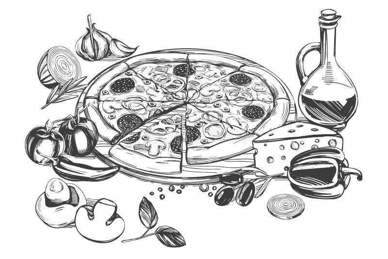 Italiensk pizza, samling av pizza med ingredienser, logoen, hand drog den realistiska vektorillustrationen skissar vektor illustrationer