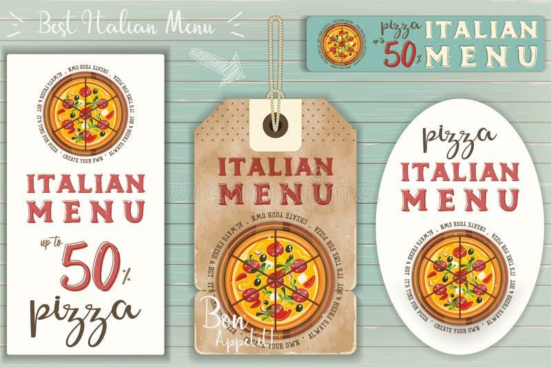 Italiensk pizzaklistermärkeuppsättning royaltyfri illustrationer