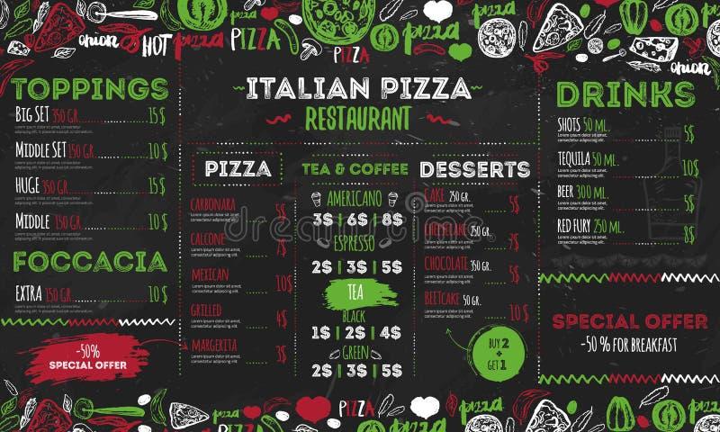 Italiensk pizzameny, malldesign för restauranger, kafé Matreklamblad med hand dragen beståndsdelar och bokstäver på vektor illustrationer