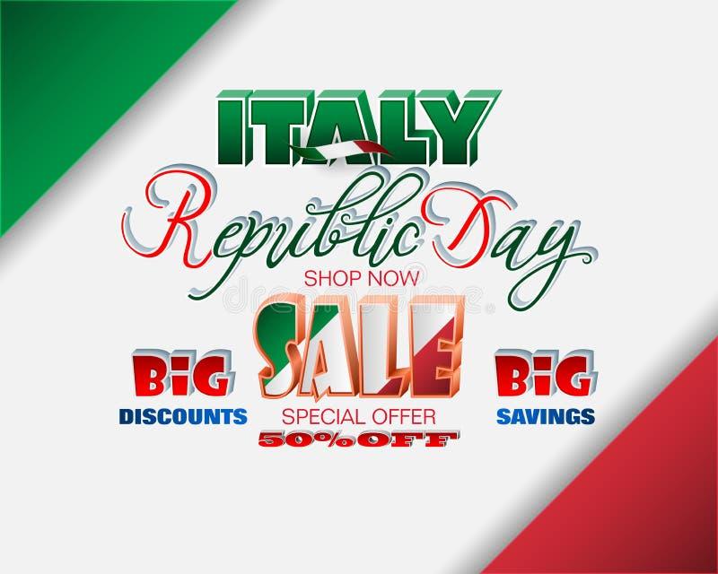 Italiensk republikdag, försäljningar och kommersiella händelser royaltyfri illustrationer