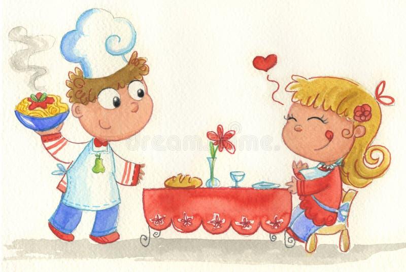 italiensk restaurang stock illustrationer