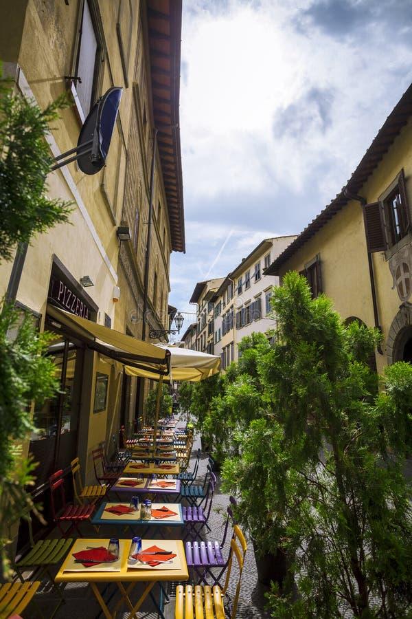 Italiensk restaurang, pizzeria och trattoria, Florence tuscany fotografering för bildbyråer