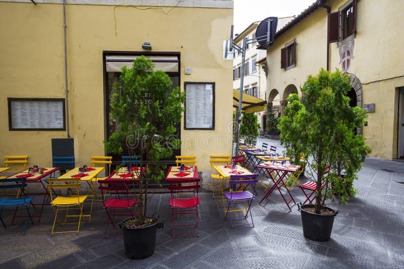 Italiensk restaurang, pizzeria och trattoria, Florence tuscany arkivbilder