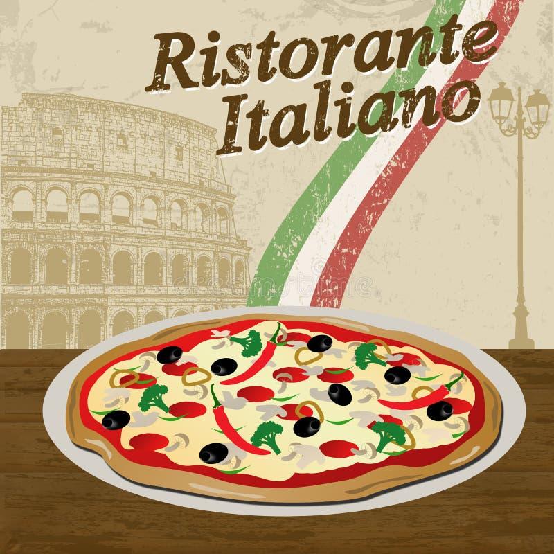 Italiensk restaurangaffisch royaltyfri illustrationer