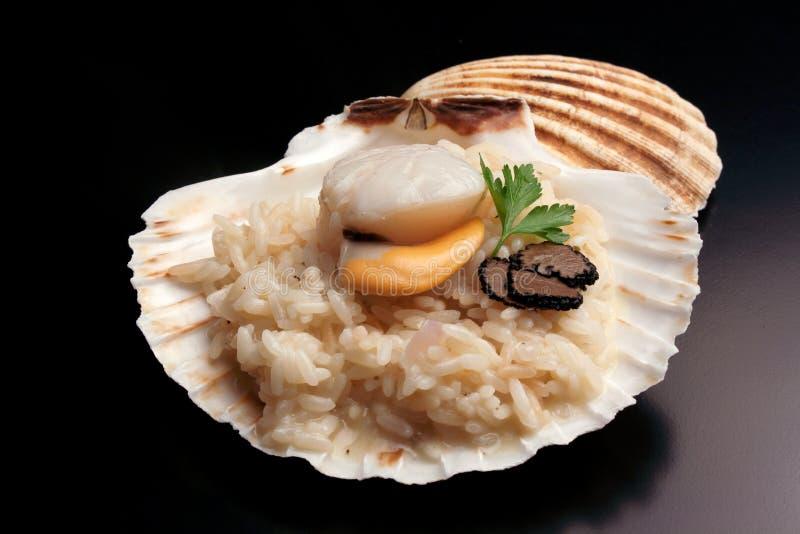 Italiensk `-risotto` med trufflw och kammusslan arkivfoto