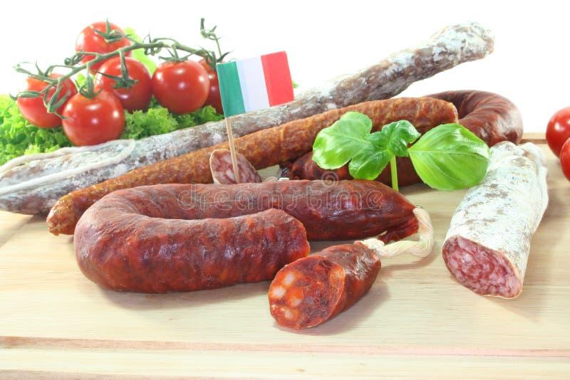 italiensk salami royaltyfria bilder