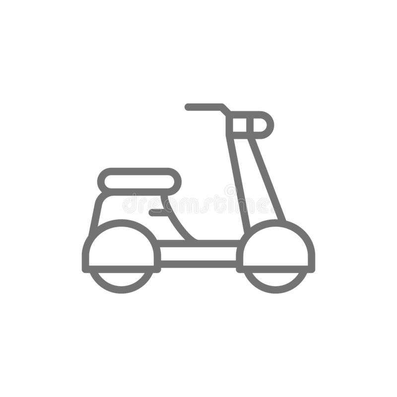 Italiensk sparkcykel, traditionell stadstransportlinje symbol vektor illustrationer