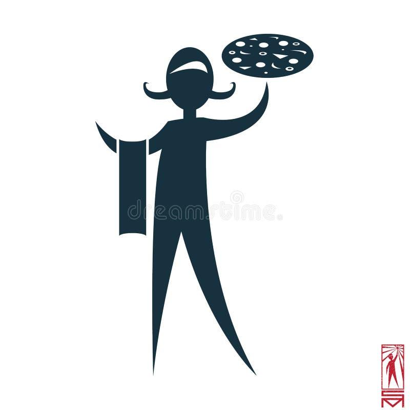 Italiensk uppassare med pizza royaltyfri illustrationer