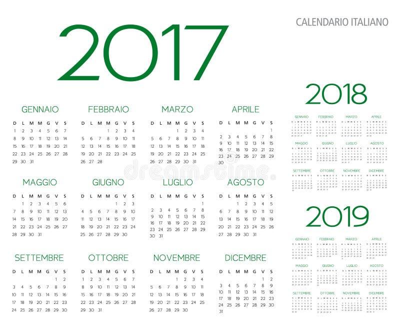 Italiensk vektor för kalender 2017-2018-2019 royaltyfri illustrationer