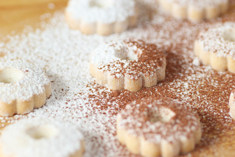 Italienska canestrellikex som täckas med pudrad socker och kakao arkivfoto