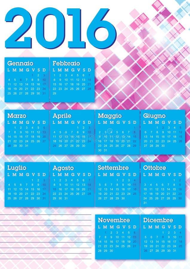 2016 italienska kalenderdiagramfyrkanter royaltyfri illustrationer