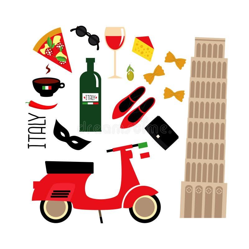 Italienska kultursymboler för tecknad film: Pisa torn, retro sparkcykel, rött vin, kaffe, pizza, pasta, ost, modeskor royaltyfri illustrationer