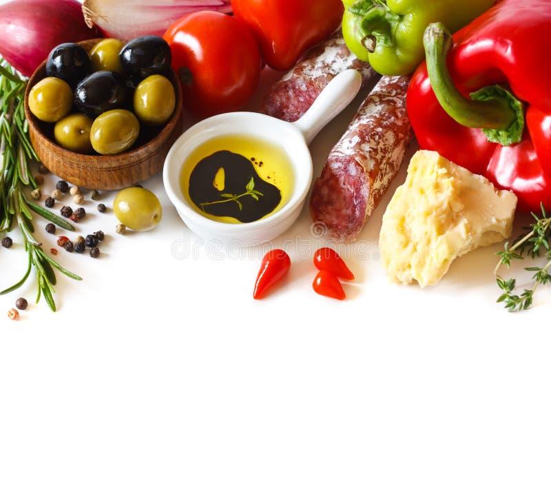 italienska matlagningmatingredienser arkivfoton