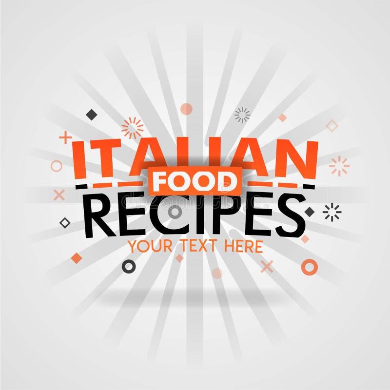 Italienska matrecept med bästa hem- lagade mat mål för låg carb vektor illustrationer