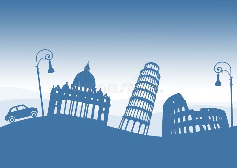 Italienska monument, Italien Gamla bil och streetlights stock illustrationer