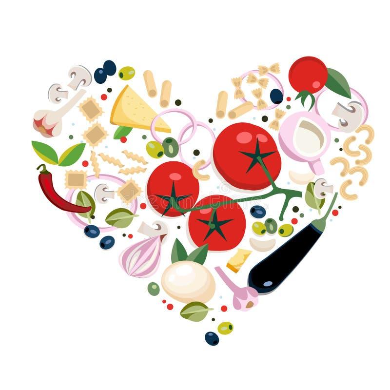 Italienska olika typer f?r strikt vegetarian av pastaingredienser Begrepp i hj?rtaform Utm?rkt f?r meny, fr?mjar banret, reklambl royaltyfri illustrationer