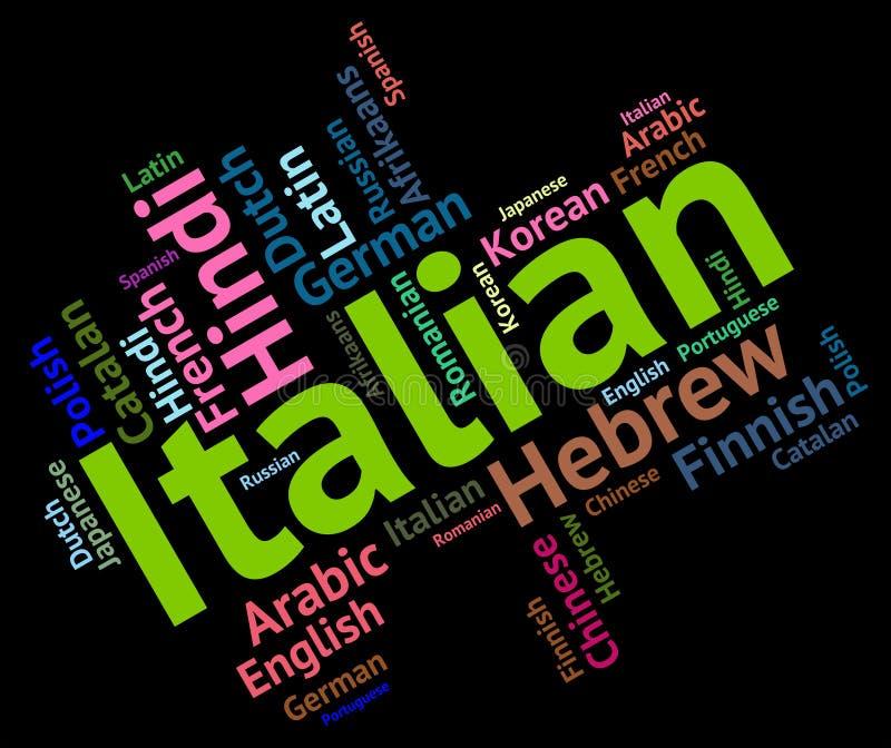 Italienska utländska språkshower översätter och ordlista royaltyfri illustrationer