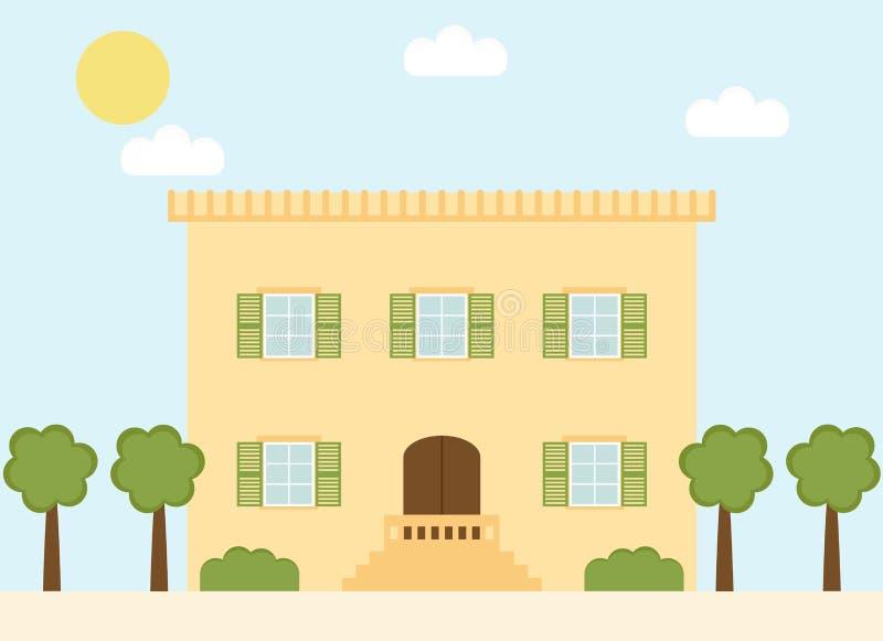Italienskt byhus för Retro stil med fönsterslutare och träd royaltyfri illustrationer