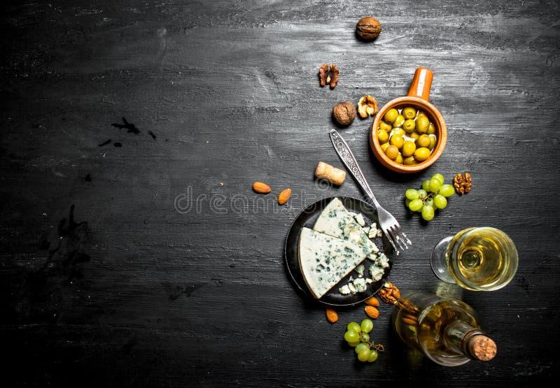 Italienskt vitt vin, aromatisk ost och valnötter royaltyfri bild