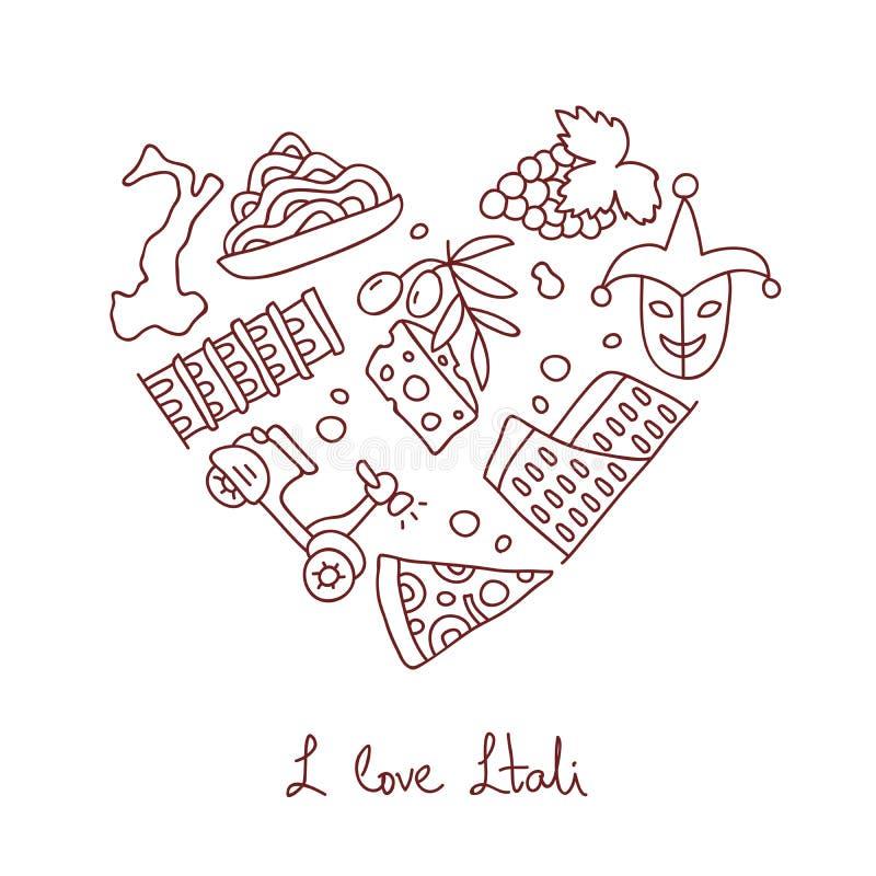 Italy Ícones na forma de um coração ilustração stock
