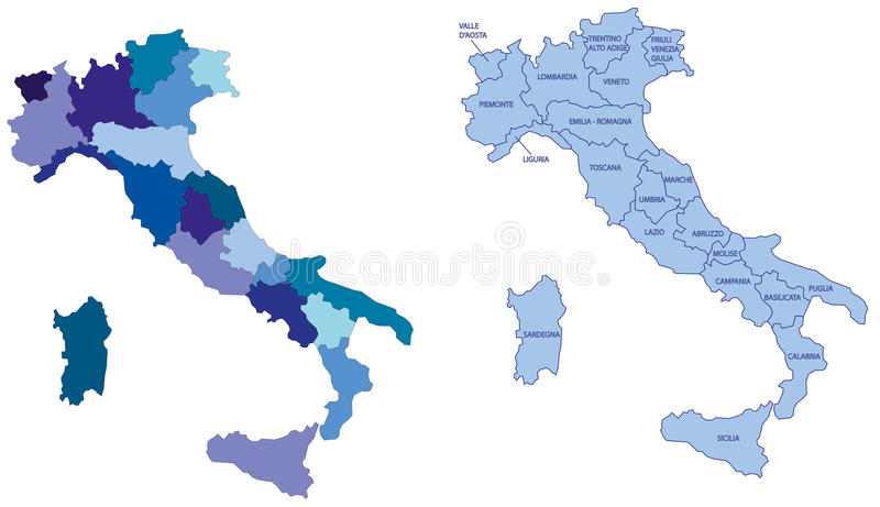 italy översiktsregioner stock illustrationer