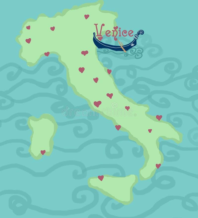 italy śmieszna mapa Venice ilustracja wektor