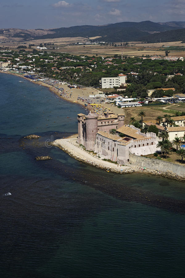 Italy, aerial view of the tirrenian coast. Italy, Lazio, Ladispoli, aerial view of the tirrenian coast and the Palo-Odescalchi Castle (1500 a.c stock photos