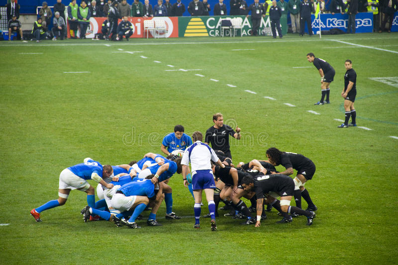 Italy - All Blacks. Cariparma Test Match Italy vs New Zealand (All Blacks) with score 6 - 20 stock image