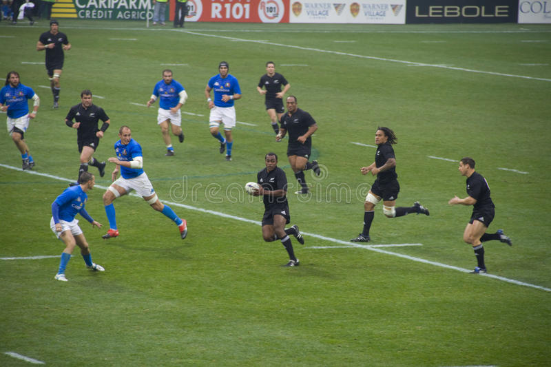 Italy - All Blacks. Cariparma Test Match Italy vs New Zealand (All Blacks) with score 6 - 20 royalty free stock image