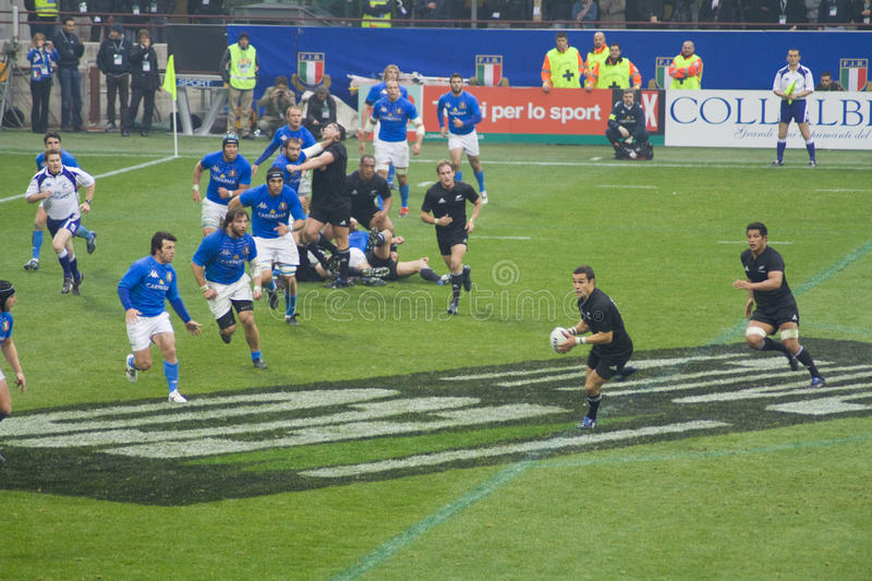 Italy - All Blacks. Cariparma Test Match Italy vs New Zealand (All Blacks) with score 6 - 20 stock photo