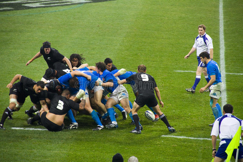 Italy - All Blacks. Cariparma Test Match Italy vs New Zealand (All Blacks) with score 6 - 20 stock images