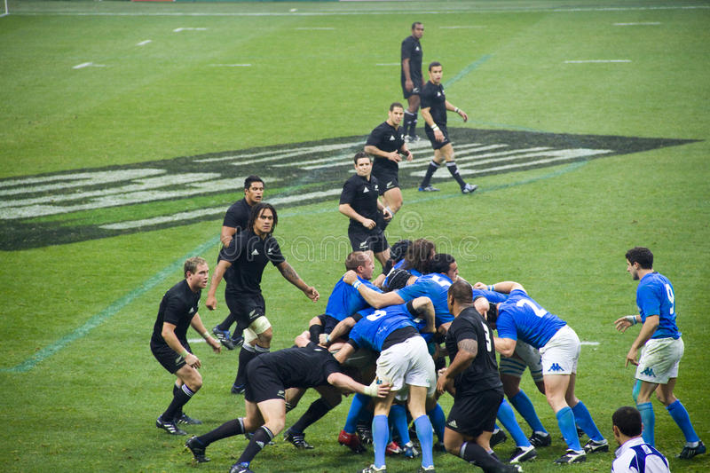 Italy - All Blacks. Cariparma Test Match Italy vs New Zealand (All Blacks) with score 6 - 20 royalty free stock images