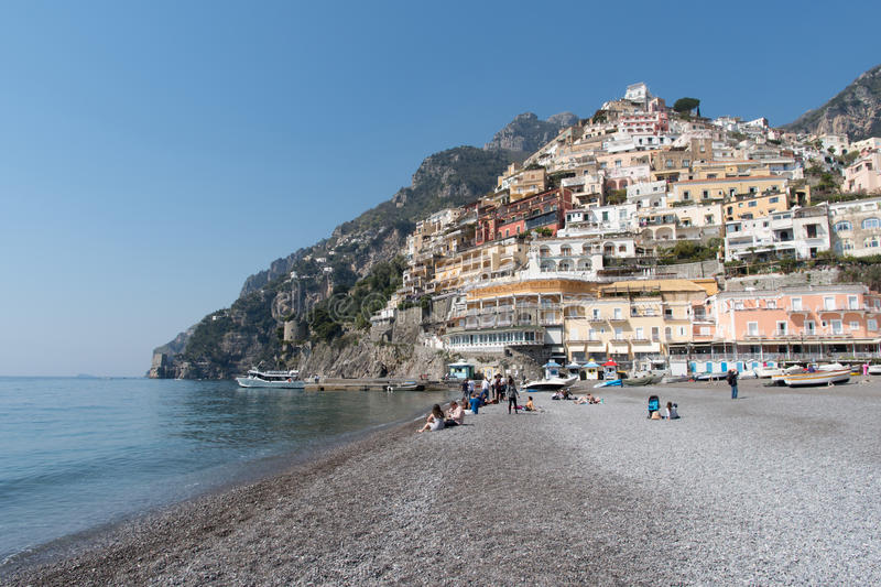 Italy, Amalfi Coast, Positano. View of the town and the seaside royalty free stock photos
