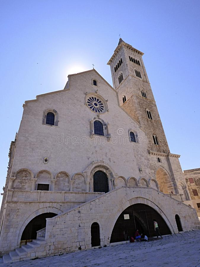 Italy, Apulia, Trani, the harbor and the Romanesque Cathedral royalty free stock image