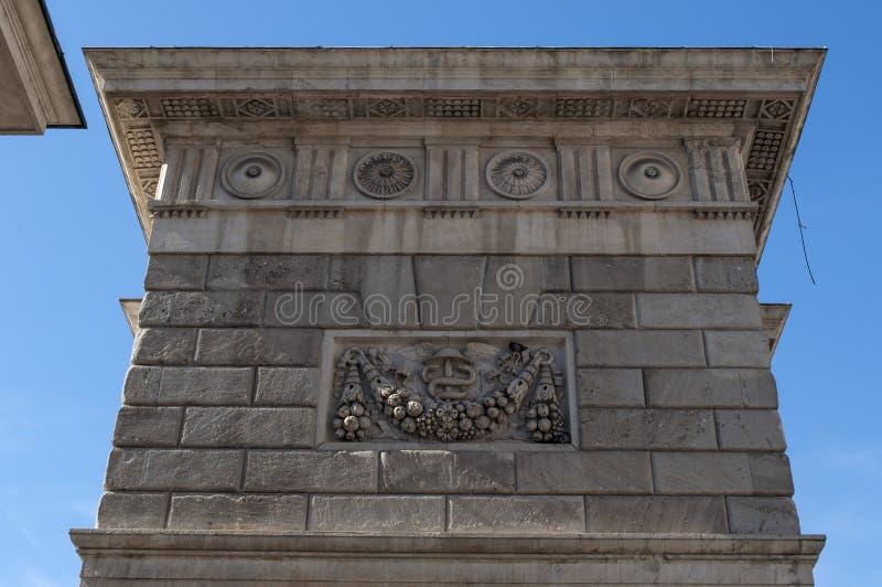 Milan, Lombardy, Italy, Northern Italy, Europe. Italy, 7/10/2017: architectural detail of Porta Garibaldi already Porta Comasina until 1860, one of the six main stock photo