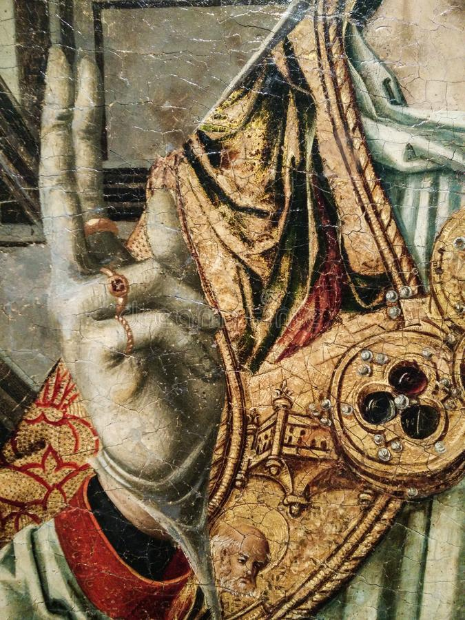 Italy. Artistic heritage. Retablo di Sant`Eligio a double triptych, complete with predella and polvarolo by Master of Sanluri stock photography