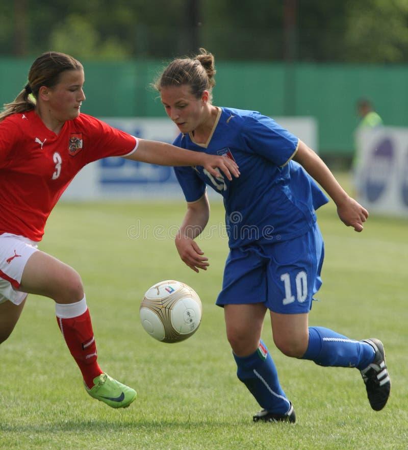 Italy - Austria, female soccer U17; friendly match stock image