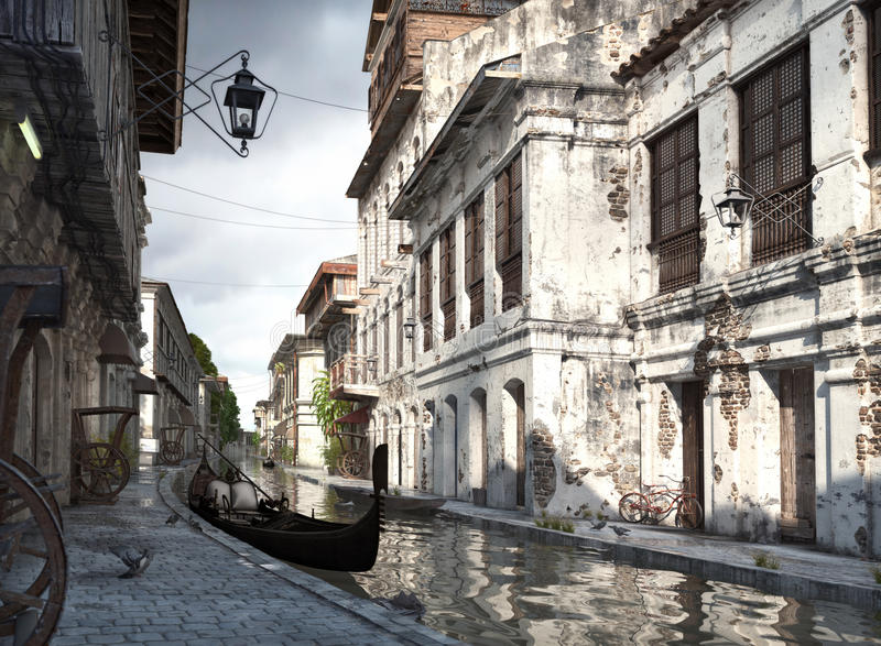 Italy backstreets with canal and gondola. 3d rendering vector illustration