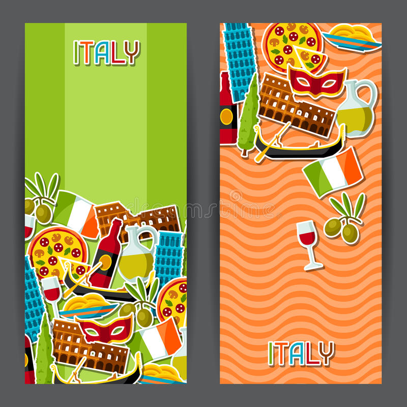 Italy Banners Design Italian Sticker Symbols And Objects Stock