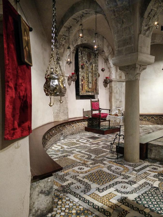 Italy.  Bari. Basilica of San Nicola.  Glimpse of the Crypt where the venerated relics of the Saint are kept stock photography