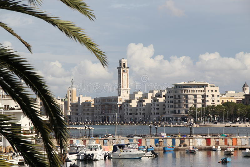 Italy, Bari, city views. Promenade and pier, boats. View of the Museum of Art stock photography