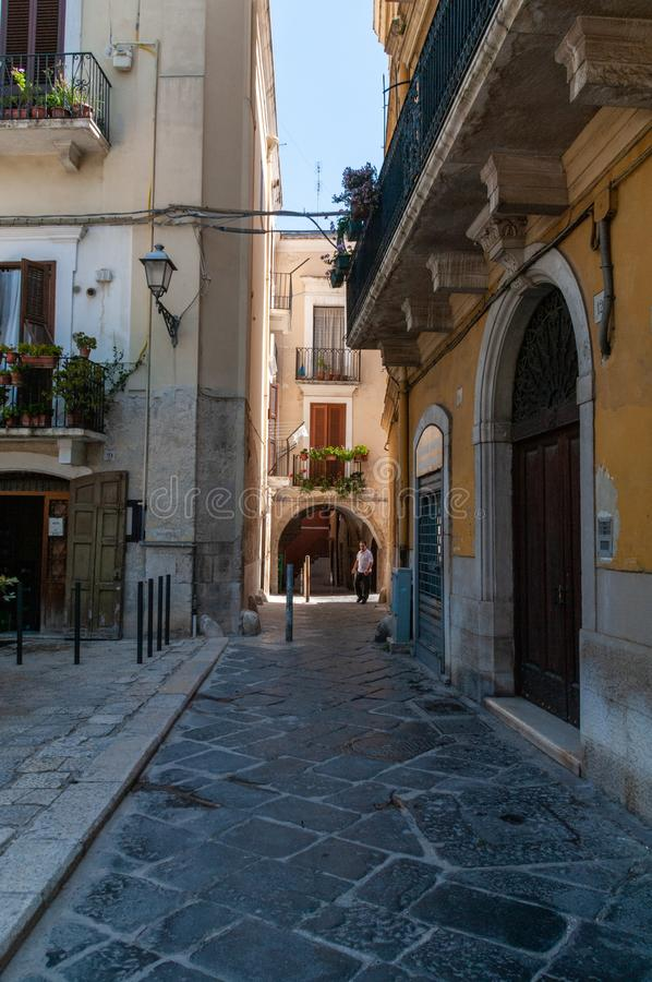 Italy. Bari. Glimpse of a small street of the old town royalty free stock photography